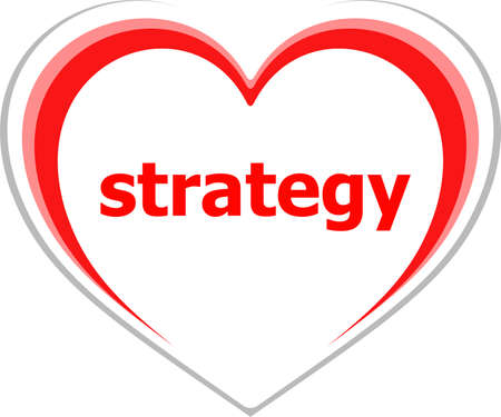 love strategy: marketing concept, strategy word on love heart Stock Photo