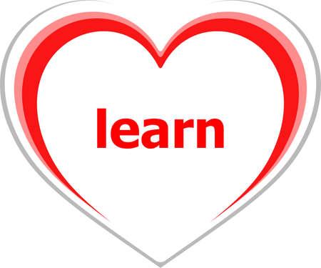 romance strategies: education concept, learn word on love heart Stock Photo