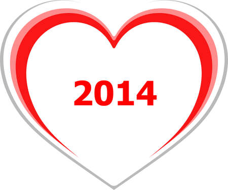 marketing concept, 2014 on love heart on white photo