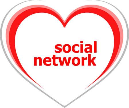 social concept, social network word on love heart photo