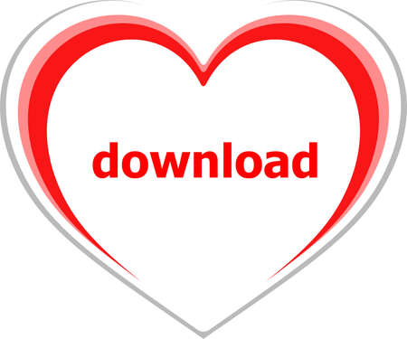 romance strategies: internet concept, download word on love heart