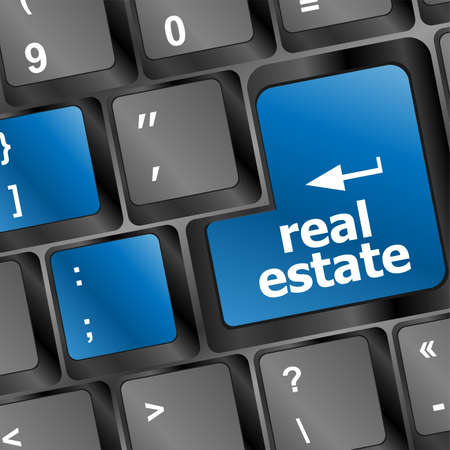real estate background: real estate computer key showing internet concept Stock Photo