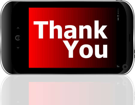smart phone with thank you word photo