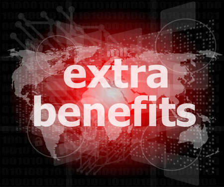extra benefits slogan poster concept. Financial support message design photo