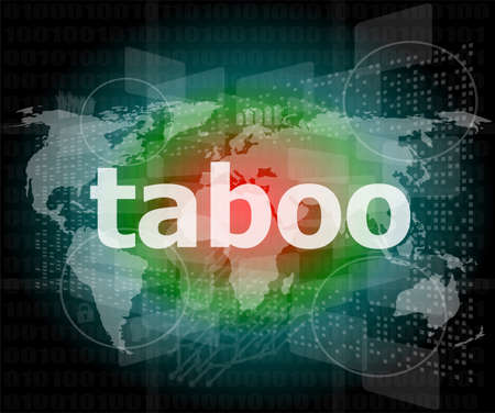 taboo: security concept: words taboo is a marketing on digital screen