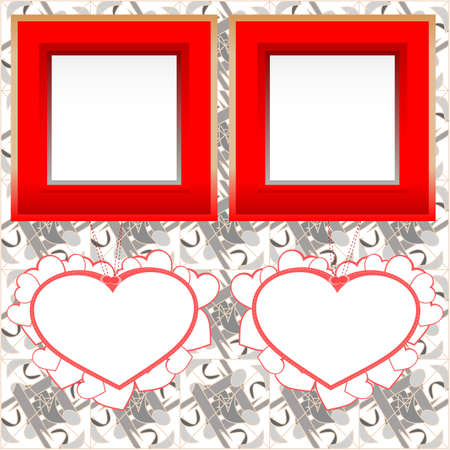 two blank instant photo frames with heart shapes on wooden background photo