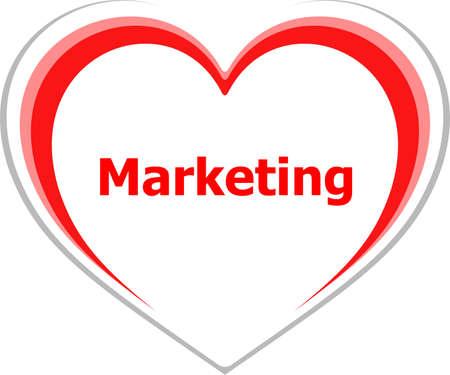 marketing concept, marketing word on love heart photo