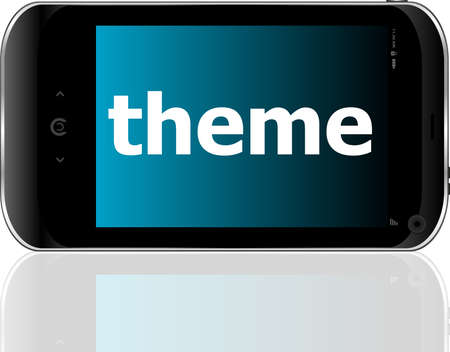 theme word on smart mobile phone, business concept photo