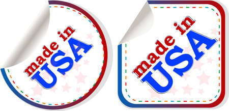 stickers set Made in USA, web icon photo