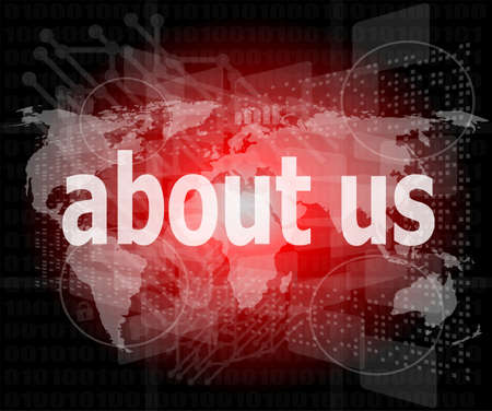 pixelated words about us on digital screen, business concept Stock Photo