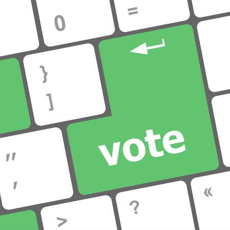 vote button on computer keyboard key photo