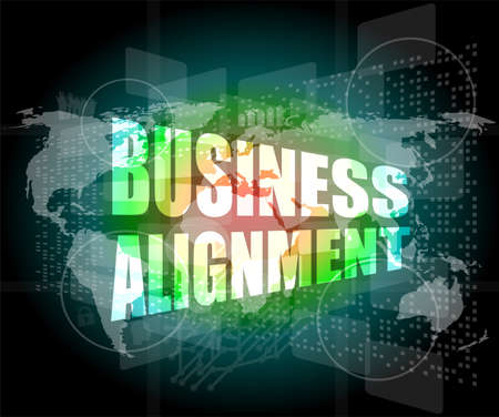 business alignment words on touch screen interface