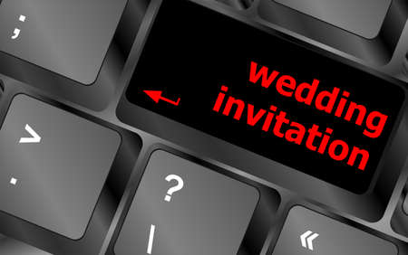 Wedding invitation word button on keyboard key photo