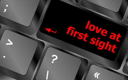 love at first sight, keyboard with computer key button photo