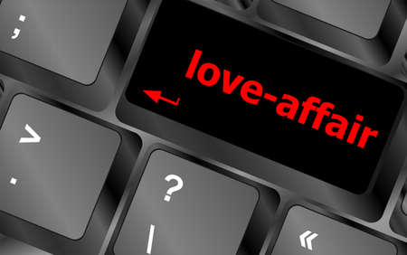 internet dating: love-affair on key or keyboard showing internet dating concept
