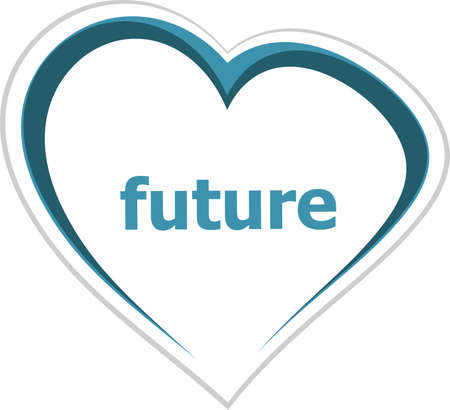 romance strategies: marketing concept, future word on love heart