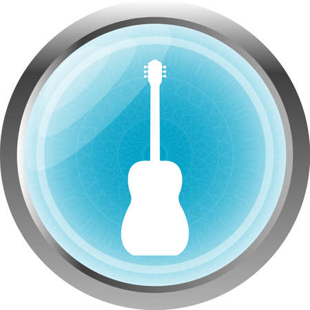 fret: electric guitar blue button isolated on white Stock Photo