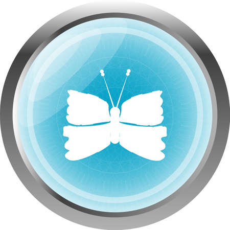 Butterfly Icon on Internet Button Original Illustration illustration