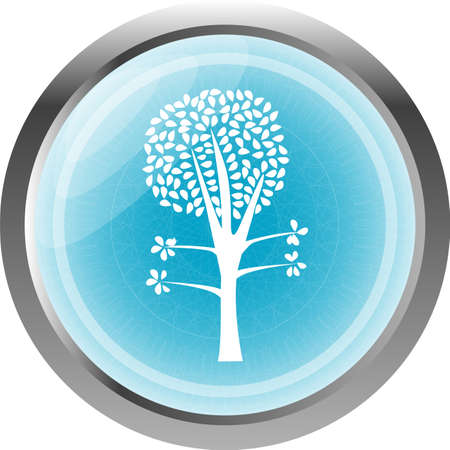 tree on the blue icon button isolated on white Stock Photo - 26488367