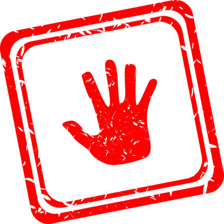 Big hand symbol on red stamp isolated on white photo