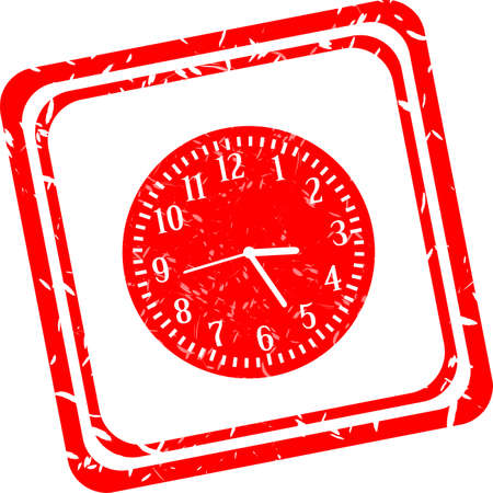Alarm clock sign icon. Wake up alarm symbol. red stamp photo