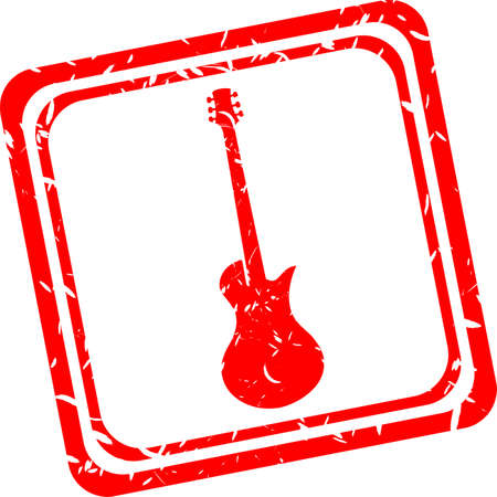 electric guitar icon, red rubber stamp isolated on white photo