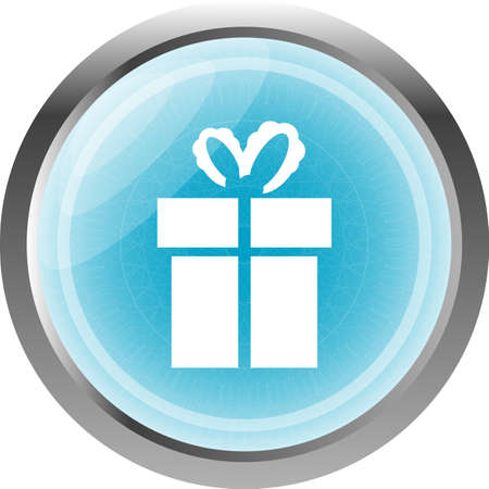 gift box blue web button isolated on white photo