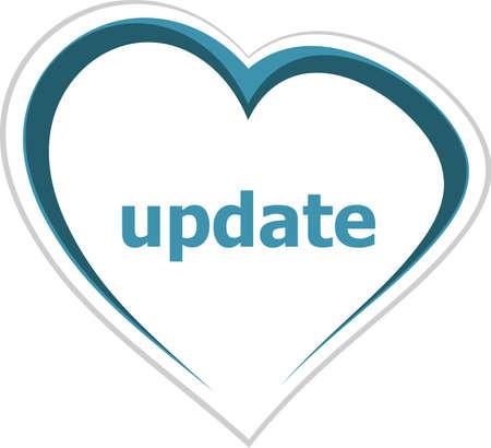 romance strategies: internet concept, update word on love heart