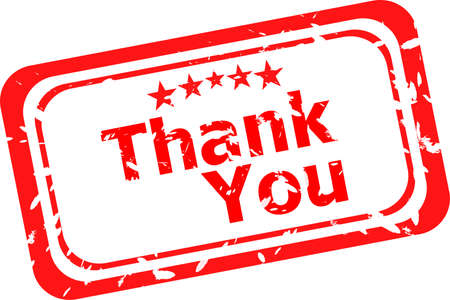 Stylized red stamp showing the term thank you on white background photo