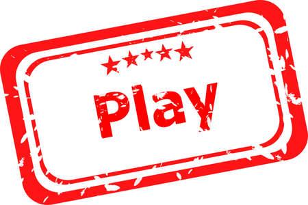 guardería: Grunge sello de goma con el texto Play, aislado en blanco