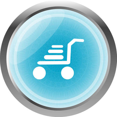 Shopping cart icon on internet button isolated on white photo