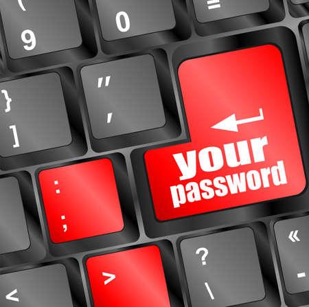 protecting your business: el bot�n de contrase�a en las teclas del teclado - concepto de seguridad