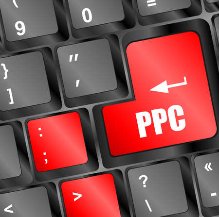 acquiring: PPC (Pay Per Click) Concept. Button on Modern Computer Keyboard
