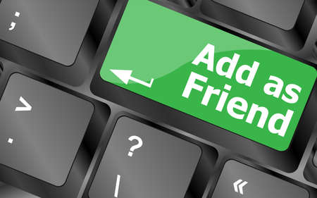 Social media concept: Keyboard with Add As Friend button photo