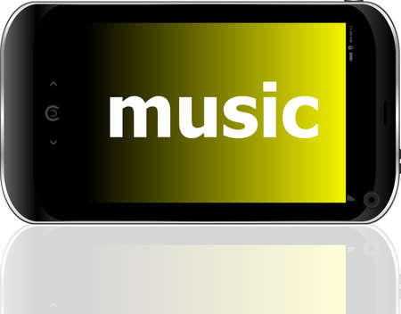 music word on smart mobile phone, holiday concept photo