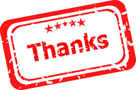 Stylized red stamp showing the term thanks. All on white background Stock Photo