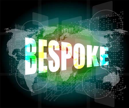 bespoke: business concept, bespoke digital touch screen interface