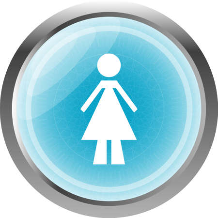 woman glossy web icon on white background photo