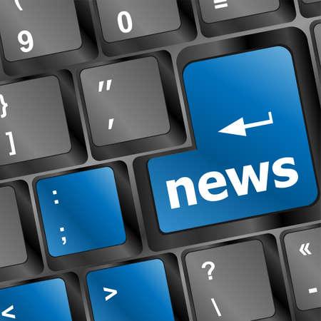 News text on a button keyboard keys photo