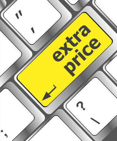 extra price word key or keyboard, discount concept photo