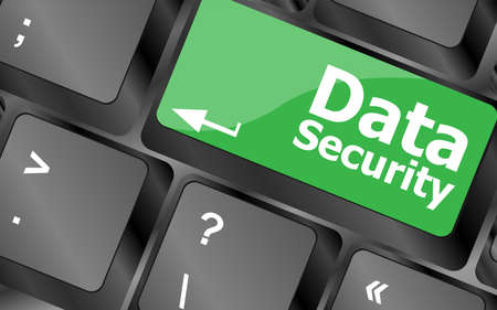 data security word with icon on keyboard button photo