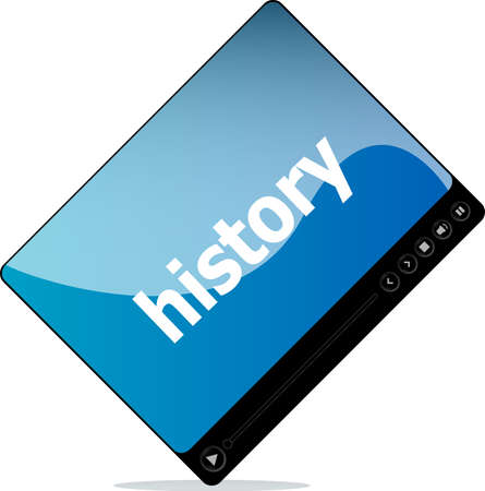 social history: Social media concept: media player interface with history word Stock Photo