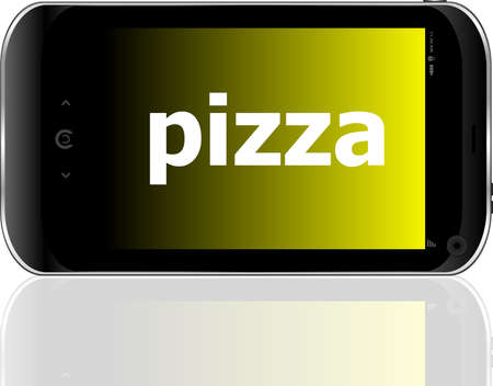 pizza word on smart mobile phone, food concept photo