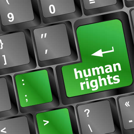 information technology law: human rights button on computer keyboard pc key Stock Photo