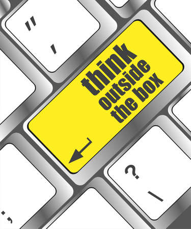 think outside the box words, message on enter key of keyboard photo