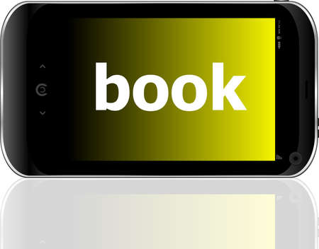 business concept: smartphone with word book on display photo