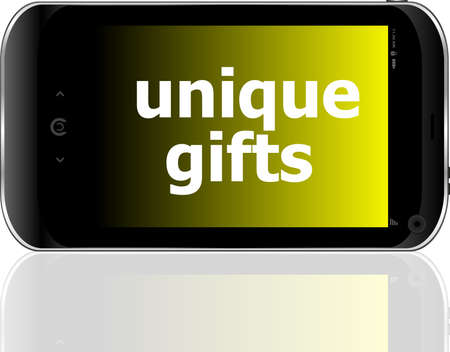 digital smartphone with unique gifts words, holiday concept photo