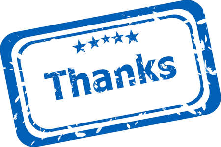 Stylized stamp showing the term thanks. All on white background photo