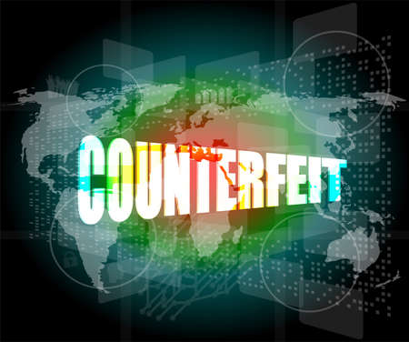 counterfeit: word counterfeit on digital screen Stock Photo