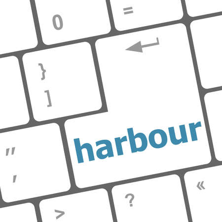 computer keyboard with words harbour on enter button